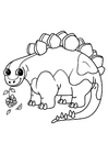 Coloring pages stegosaurus with flower