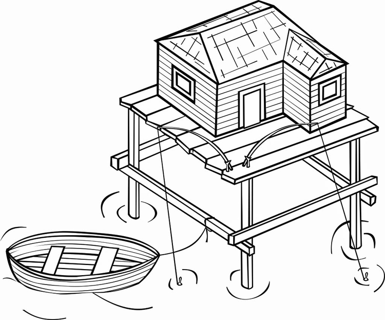 Coloring page stilt house