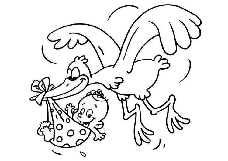 Coloring page stork and baby