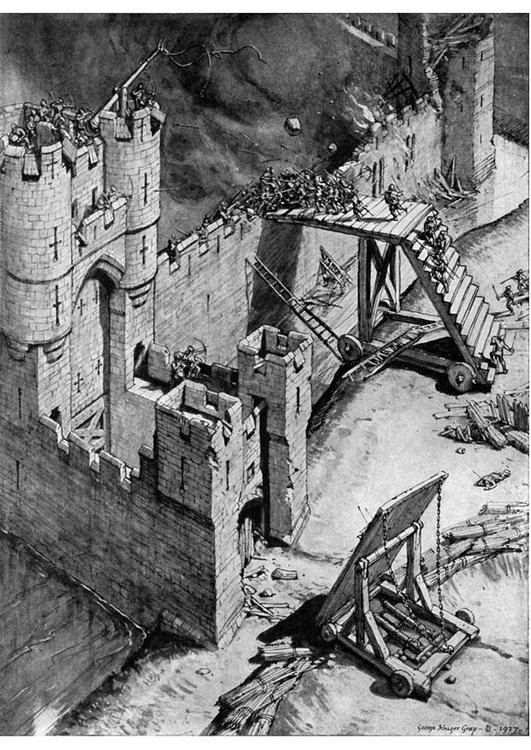 Coloring page storming a castle