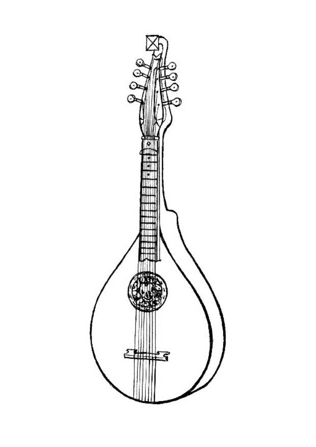 Indian Musical Instruments - Lute Coloring Page , Free Transparent ... | 875x620