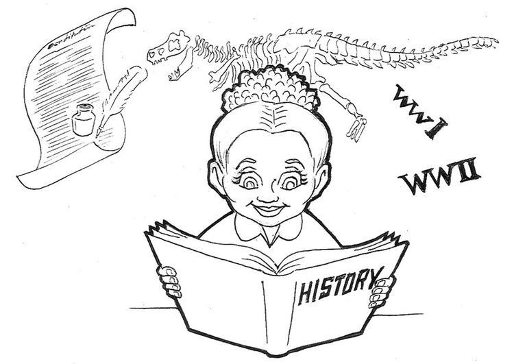 Coloring page studying history