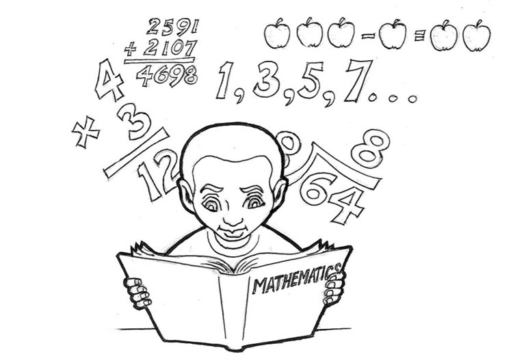 Coloring page studying mathmatics