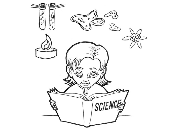 Coloring page studying science