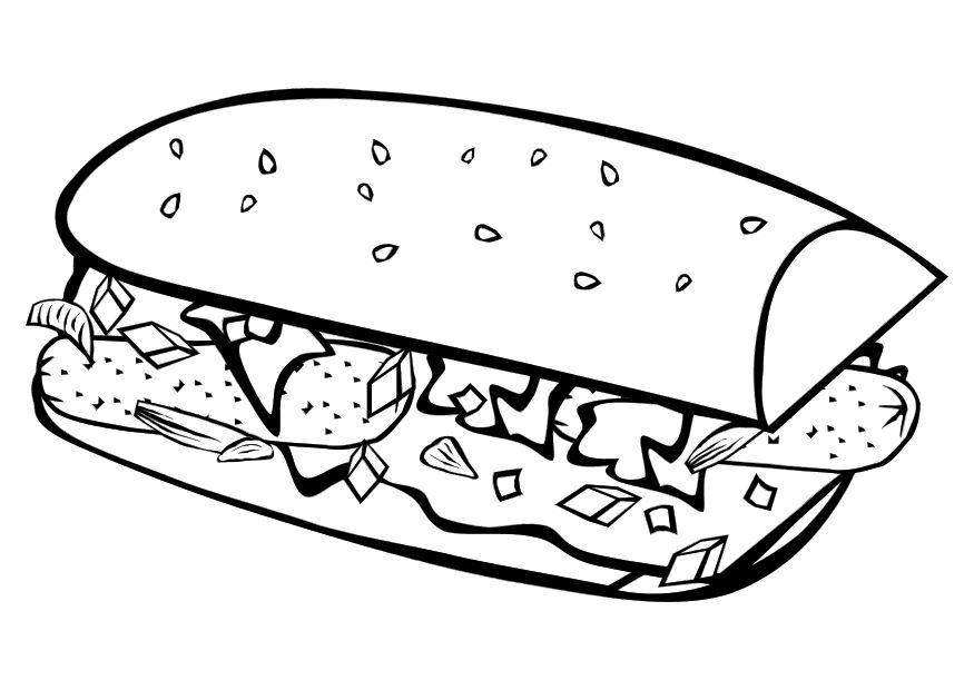 Printable Coloring Pages With Food Page Sub Sandwich Img 10149