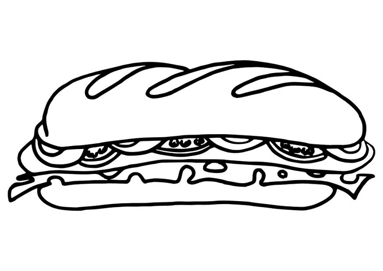 Coloring page sub sandwich
