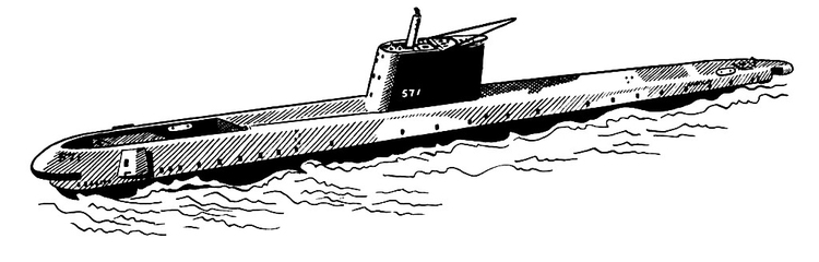 Coloring page submarine