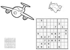 Coloring pages sudoku - airplanes