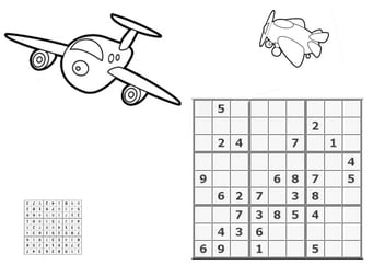 Coloring page sudoku - airplanes