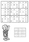 Coloring page sudoku - boy