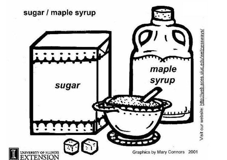 Coloring page sugar, maple syrup