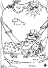 Coloring page summer - the hammock
