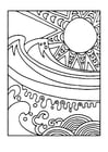 Coloring page sun and sea