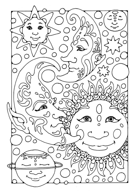 Coloring Page Sun, Moon And Stars
