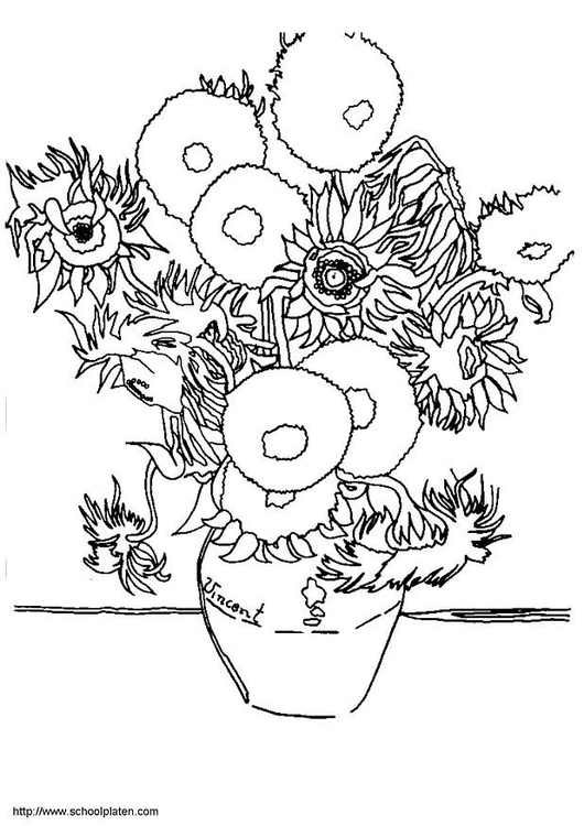 coloring page sunflowers - Van Gogh Coloring Page