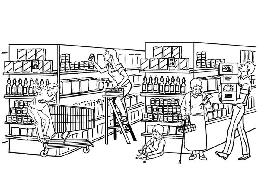 supermarket coloring pages - photo#10