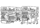 Coloring pages supermarket