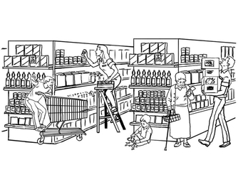 Coloring page supermarket
