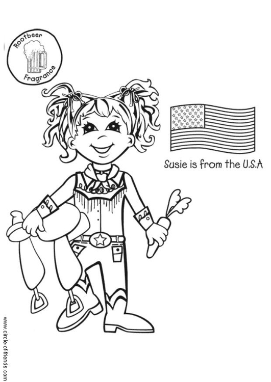 Coloring page Susie from the USA