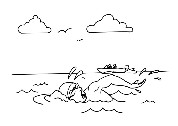 Coloring page swimming