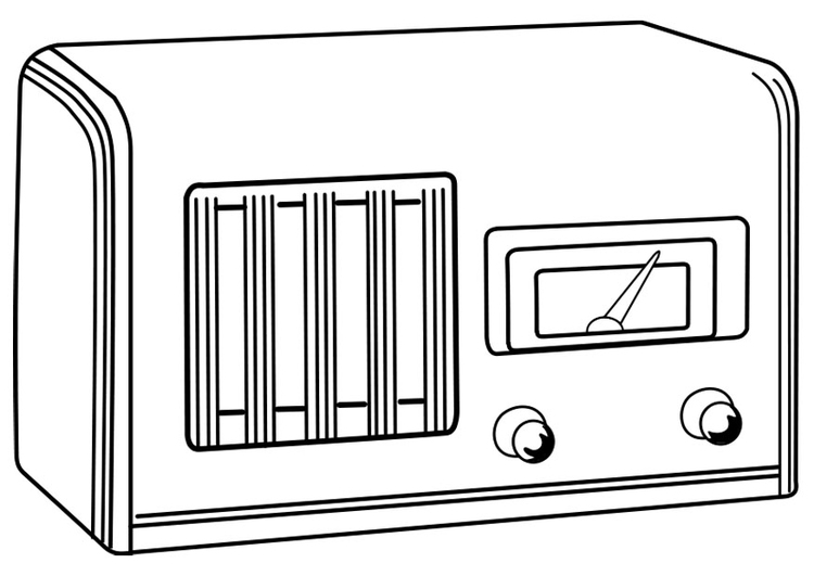 Coloring page switched-off radio