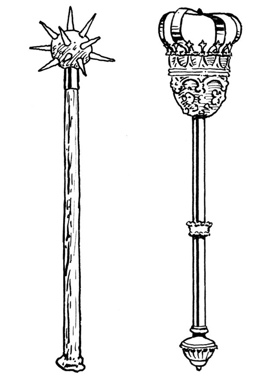 Coloring page sword and sceptre