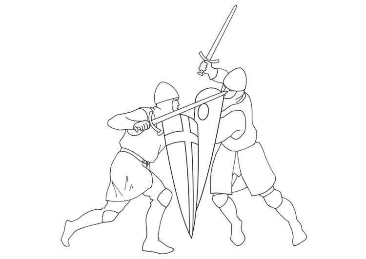 Coloring page sword fighting