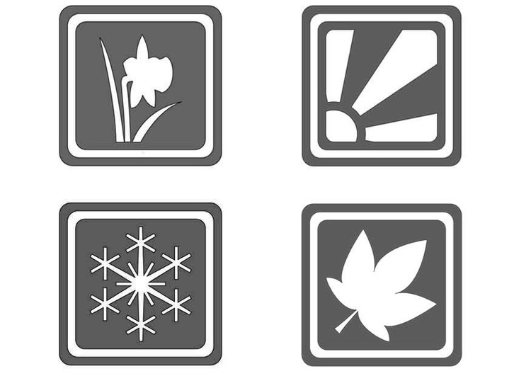 Coloring page symbols seasons