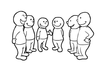 Coloring page Talking in group