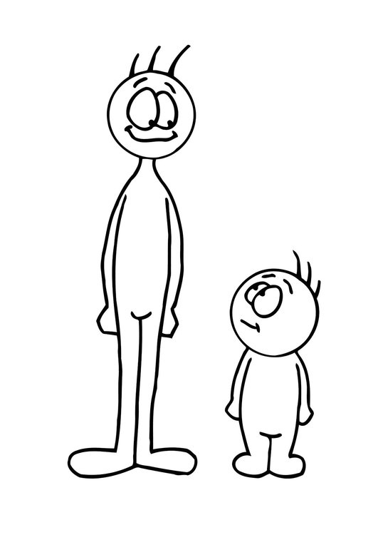 Coloring page tall and short