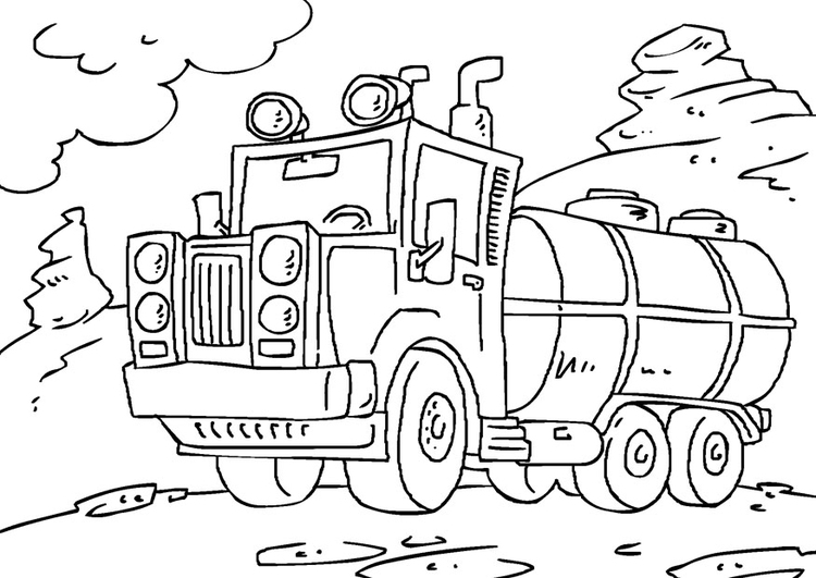 Coloring page tank truck