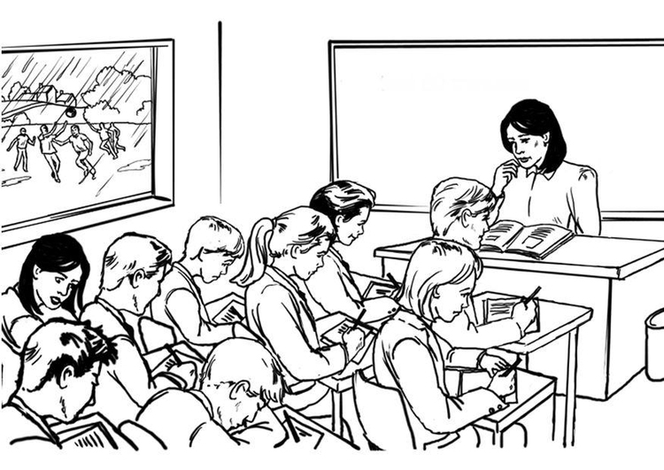 Coloring page teacher in classroom  img 8043
