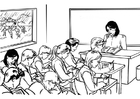 Coloring pages teacher in classroom