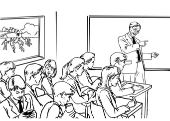 Coloring page teacher in classroom
