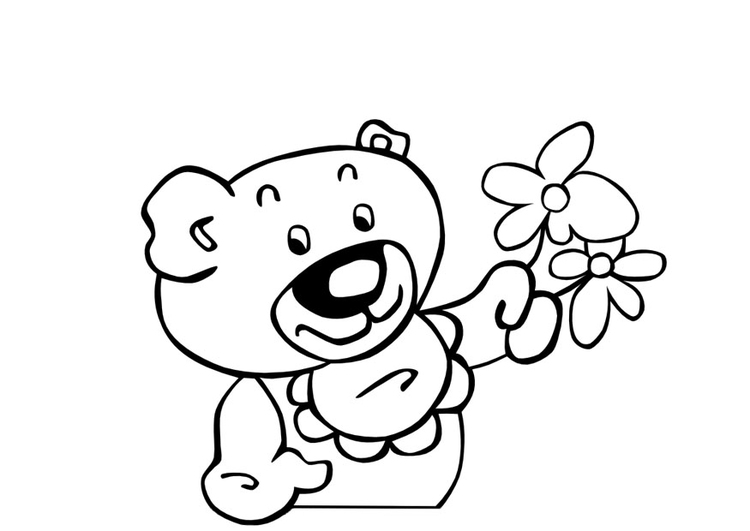 Coloring page teddy bear with flowers