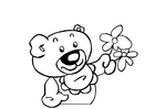 Coloring pages teddy bear with flowers