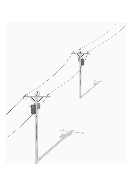 Coloring page telephone poles