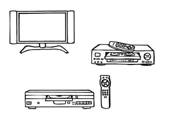 Coloring page television, vcr, dvd player