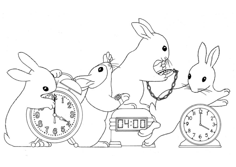 Coloring page telling time