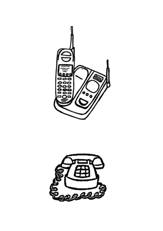 Coloring page telphones