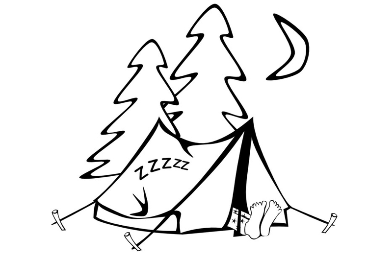 Coloring page tent sleeping