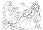 Coloring pages thanksgiving basket - Cornucopia