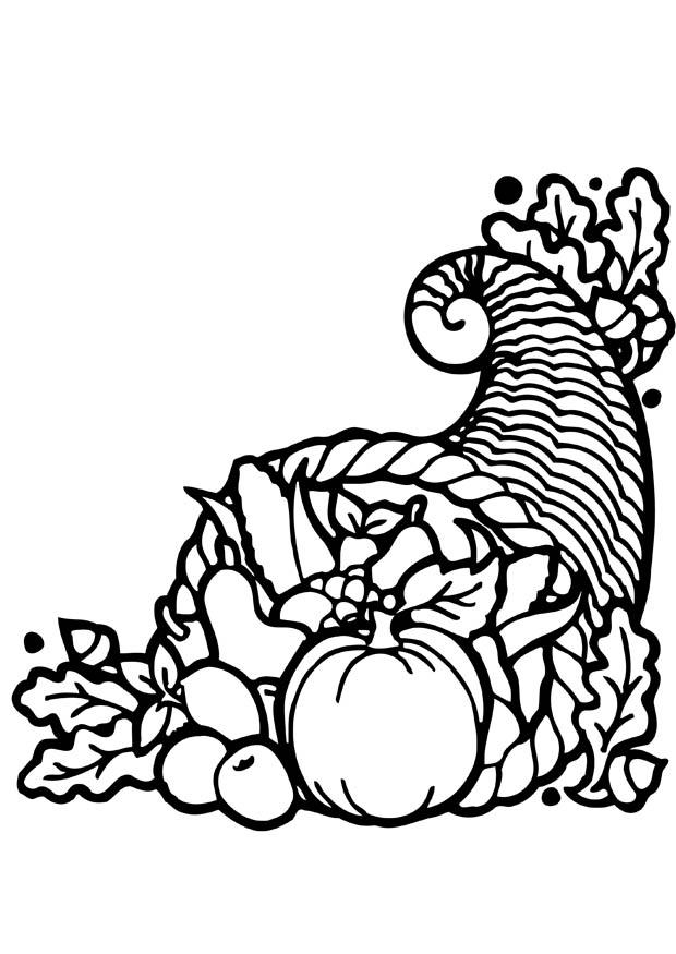 Coloring page Thanksgiving cornucopia