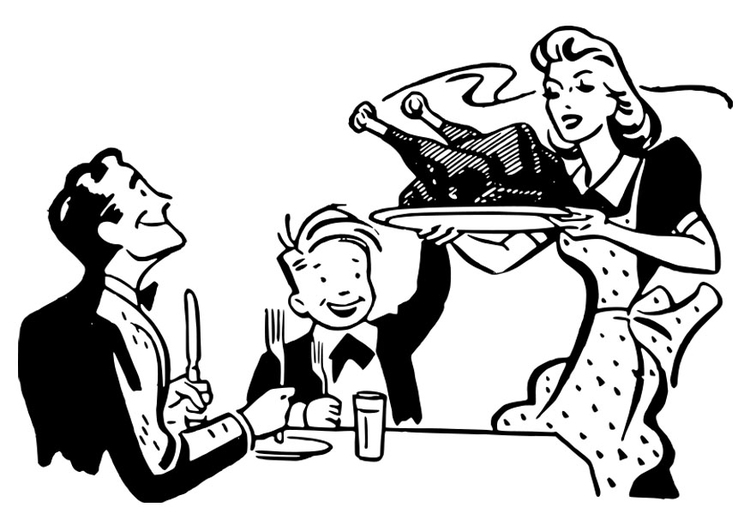 Coloring page Thanksgiving meal