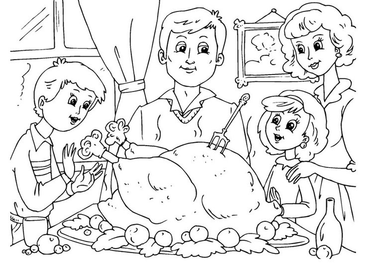 Coloring Page Thanksgiving Meal With Family