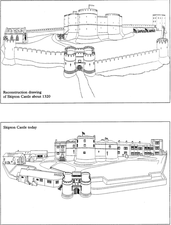 Coloring page The Castle in 1320 and the Castle today