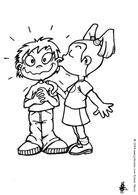 Coloring page the kiss