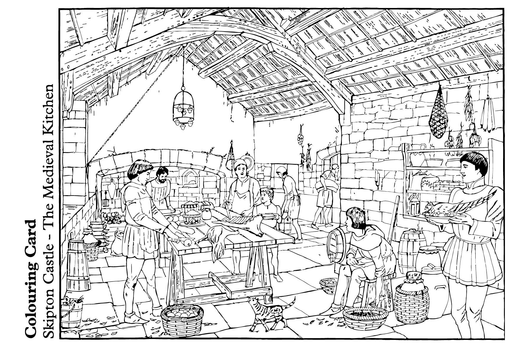 coloring page the medieval kitchen img 14893