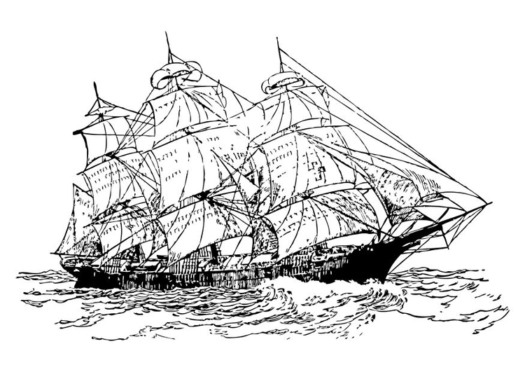 Coloring page three mast ship