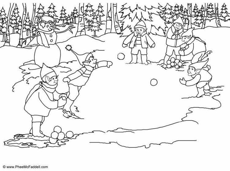 Coloring page throw snowballs